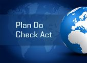 foto of plan-do-check-act  - Plan Do Check Act concept with globe on blue world map background - JPG