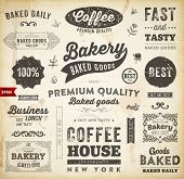 Set of Vintage Bakery Logo Badges and Labels for Retro Design