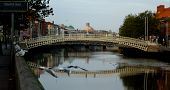 Famous Ha'penny Bridge in Dublin, Ireland