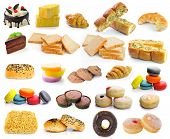 stock photo of noodles  - Cake bread garlic bread croissants donuts noodles macarons sweets made from sugar cookies isolated on white background - JPG
