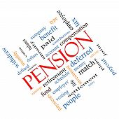 image of employee month  - Pension Word Cloud Concept angled with great terms such as benefit deferred retirement and more - JPG