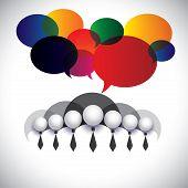 White Collar Employees Communication, Interaction - Concept Vector