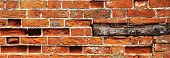 stock photo of plinth  - Brick wall background with wooden plinth in panorama - JPG