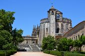 stock photo of templar  - The beautiful templar castle in Tomar Portugal. Peacefull and full of mystery.