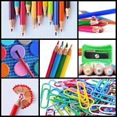 a collage of different pictures of some school supplies such as colored pencils, pencil sharpener or
