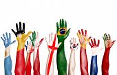 pic of yugoslavia  - Diverse Hands Painted With National Flags - JPG