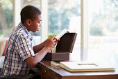 Boy Looking At Document In Keepsake Box On Desk