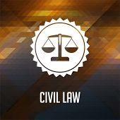 Civil Law Concept on Triangle Background.