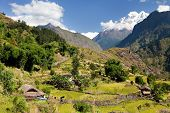 Beautiful Village In Western Nepal With Mount Dhaulagiri