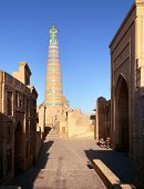 Постер, плакат: Islom Hoja islam Xoja Minaret In Itchan Kala ichon Qala Khiva chiva Heva Xiva Chiwa Khive