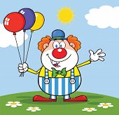 Funny Clown Character With Balloons And Waving On Meadow