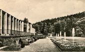 BAD ELSTER, GERMANY,CIRCA 1937: Vintage photo of mineral wells and park. The town has a spa tradition of 150 years.