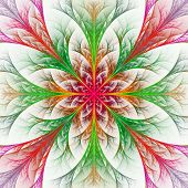 Beautiful Multicolor Fractal Flower. Collection - Frosty Pattern. On White.