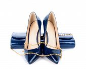 pic of clutch  - Beautiful blue shoes with clutches on white isolated background - JPG