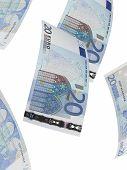 Twenty Euro Bills Collage. Vertical Format