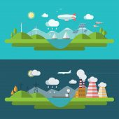 Flat design vector ecology concept illustration