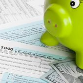 picture of cpa  - US Tax Form 1040 with piggy bank and 100 dollars - JPG