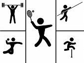 A black set of sport icons. Vector illustration