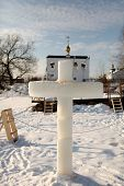 image of epiphany  - ice cross at the Epiphany hole Russia - JPG