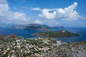 LIpari coast from Vulcano, Eolie Islands, Sicily, Italy