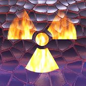 image of radioactive  - Digital 3D Illustration of a Radioactivity Sign - JPG