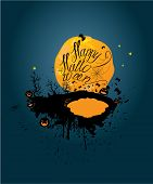Halloween Night: Pumpkins Sillouettes On Moon And Sky Background. Card With Calligraphic Text Happy