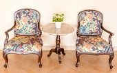 Vintage Set Chairs And Table With Vase Decoration, Interior
