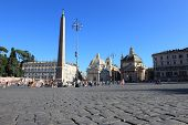 Piazza Del Popolo,crowded Square In Rome