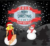 New Year And Christmas Card With A Snowman And Snow Maiden