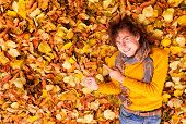 Curly Man In Sweater And Scarf Shows Something On Leaves Background At Autumn
