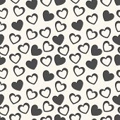 Heart shape vector seamless pattern. Black and white colors