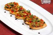 Bruschetta (italian Toasted Garlic Bread) With Stewed Vegetables, Selective Focus.