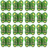 Green-Yellow-White Medium Butterfly Pattern
