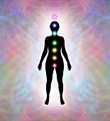 picture of qi  - Soft pastel colored energy field around female silhouette showing placement of seven chakras - JPG
