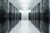 foto of workstation  - Row of network servers in datacenter room - JPG