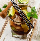 Cuba Libre Drink  On  Wooden Table