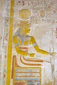 pic of sceptre  - The Ancient Egyptian goddess Isis seated on a throne holding her sceptre and the sacred ankh - JPG