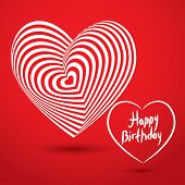 Happy birthday white heart on red background. Optical illusion of 3D three-dimensional volume vector