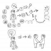 Hand doodle Business icon set idea design on a white background infographics, job search, resume. ve
