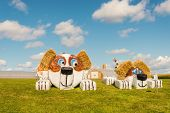 Hay Bale Figure Of Dog