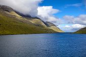 pic of faroe islands  - Landscape of part of the Faroe Islands near Klaksvik in the North Atlantic - JPG