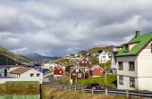stock photo of faroe islands  - View of part of the city of Klaksvik in the Faroe Islands Denmark in North Atlantic.