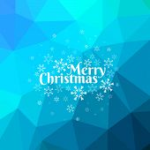 Blue Merry Christmas Card With Triangle Background