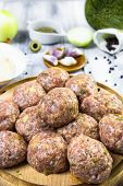 Closeup Meatballs Prepared Roll Breadcrumbs