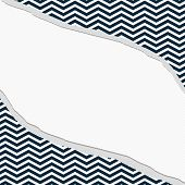 Navy Blue And White Chevron Frame With Torn Background