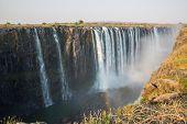 Wide view of Victoria Falls in Zambia
