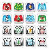 Постер, плакат: Ugly Christmas sweater on jumper buttons set
