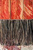 paint brush bristles on wood texture