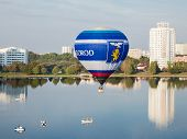 Minsk, Belarus. 13-september-2014: View Of Hot Air Baloon Flying Over Minsk City At The Championship