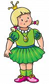 stock photo of obesity children  - Children vector illustration of little princess in mediaval dress - JPG